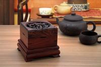 Log wood carved sandalwood box incense stove lying incense burner