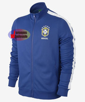 Brazil Jackets Thailand qulaity N98 Blue Brazil Soccer Jacket  Free Shipping for warmth & protection with mock neck and full-zip