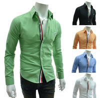 Мужская повседневная рубашка 2013 New cheapest Mens Casual Slim Fit Stylish Hot Dress Shirts Color:White, Black, Winered Size:M-L-XL-XXL5907