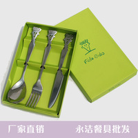 7up piece set spoon fork knife stainless steel gift box tableware gift