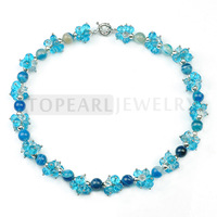 Free Shipping! Blue Agate Crystal Beaded Necklace 18inch GN080