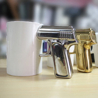 Ceramic mug hands gun cup pistol cup