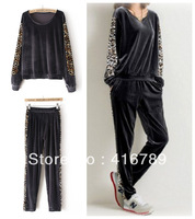 Fashion casual sweatshirt leopard print gold velvet sports set female loose