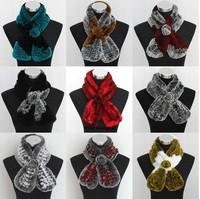 Free Shipping Retail Genuine Rex Rabbit Fur Neck Warmer / Knitted Rex Rabbit Scarf Fur Wholesale