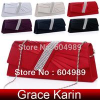 Promotion!Fashion Ladies Evening Bag Satin Clutch Rhinestone Handbag,Party wedding Clutch bags GK  6 colors Free Shipping GZ474