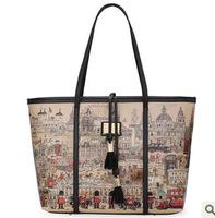 New 2014 brand women leather handbags Character Cartoon Printing Handbag vintage PU Leather Shoulder Bag in Stock