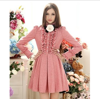 Free Shipping New arrival spring autumn and winter flannel royal ruffle slim waist expansion bottom woolen one-piece dress