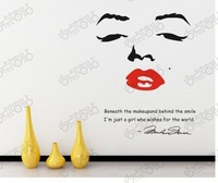 fashion marilyn monroe red lips English wall stickers Home Decoration Wall Decals decorative wall stickers,home decoration