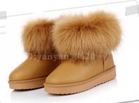 New 2013 children's snow boots fox fur winter shoes kids girls cotton padded flats
