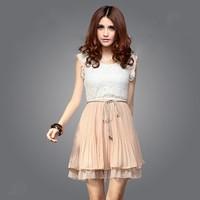 Dresses For Women New Fashion Summer Court Style Retro Lace Sleeveless Vest Chiffon Vintage Mini Dress Free Shipping