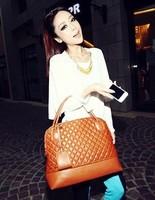 2014 New Fashion  Women's Retro Bag Lozenge Handbag PU Leather Shoulder Bag in Stock