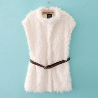New Winter Women Fashion Fleece waistcoat Sleeveless Ladies White women's Vest Jacket Ladies Jackets