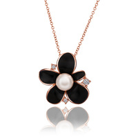 Classic Black Flower Natural Pearls Pendant Rhinestone Necklaces Rose Gold Plated Best Friends Gifts 18KGP N680