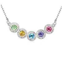 Fashion Crystal Necklace Pendants For Women 2014 Brand Jewelry 18KRGP Beautiful Rainbow Necklace Gold Plated 10839
