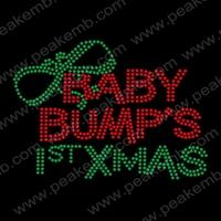 50Pcs/Lot Beauty Free Shipping Baby Bump'S 1St Christmas Rhinestone Iron On Patterns Hot Fix Design Wholesale Transfer For Ts
