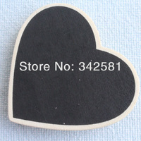 Free Shipping 100pcs/lot Heart Shape Blackboard of Clip Peg Wooden CHALKBOARD For Wedding/Party Decoration