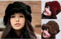 new real farms knitted genuine mink fur hat / caps sun hat knitted hats wholesale Free shipping