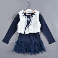 free shipping 5pcs/lot suit for 4-8 years children dress really High quality original navy blue 2pcs girls sweater dress