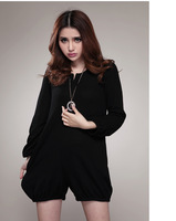 Free shipping 2013 autumn round neck long sleeve jumpsuit women plus size jumpsuit shorts 1023
