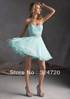 Cheap new baby blue prom dress Style 9240 Chiffon with Beading short damas dress
