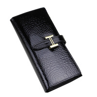 2013 hot selling women's design cowhide long wallet women's  genuine leather wallet  crocodile pattern purse