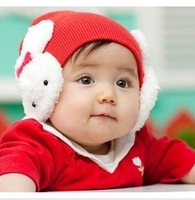 Child big rabbit ear protector cap baby knitted hat newborn hat