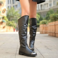 Fashion knee-length boots 2013 low-heeled boots back zipper boots