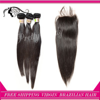 Pretty Lady closure and bundles Remy Brazilian Virgin hair extension straight hair natural color aliexpress uk free shipping