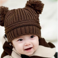Autumn and winter yarn ear protector cap baby hat male 0 - 2 child hat