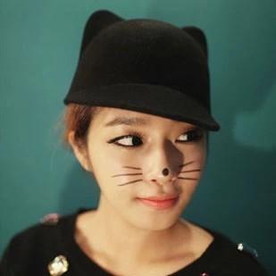 Cat ears hat woolen dome hat one piece ear cap baseball cap freeshipping(China (Mainland))