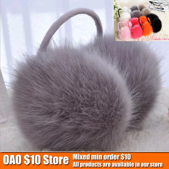 Imitation gold fox fur earmuffs ear warm winter warm earmuffs worn after(7 colors can be selected)