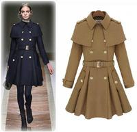 European 2014 women fashion cape pea coat poncho female winter long military style jacket thick navy blue khaki oversize WJ3007