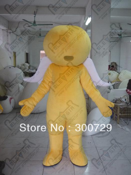 yellow angel mascot costumes with white wings character round head free shipping quality foam head cartoon mascot costume(China (Mainland))