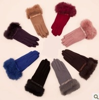 Wool gloves female winter thickening thermal rabbit fur gloves fashion gloves