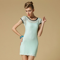 Free shipping dresses new fashion 2013 casual crochet lace dress women girls twinset dress european style bodycon elegant dress