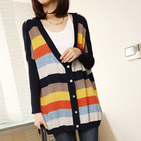 Autumn new arrival Women loose plus size batwing sleeve striped sweater female cardigan shirt