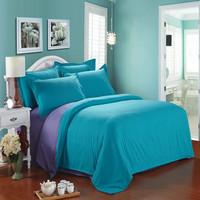 Solid color double piece set single double piece set duvet cover bed sheets 4 piece set