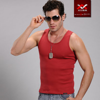 XUBA men high-elastic tight cotton slim type  tank tops 8 color (Size: S M L XL)-Free shipping!