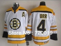 Boston Bruins Jersey 4 Bobby Orr white Ice Hockey Jerseys Free Shipping Mix Order