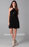 Free Shipping Black Simple Sheath Short Halter Cheap Cocktail Dresses 2014