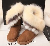 Winter snow boots tassel medium-leg boots fox fur boots flat slip-resistant female boots