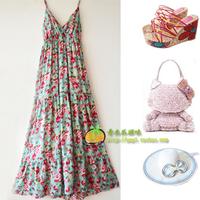 2015 new cotton  v-neck summer bohemia dresses long for women summer lady dress vestidos fiesta beach  plus size  dress