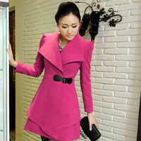 2013 Autumn And Winter Women's Large Lapel Woolen Outerwear Elegant Medium-long Wool Coat,Woman's Overcoat Outerwear Coats
