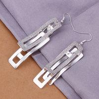 (Min order $ 10)Fashion jewelry 925 silver hollow quartet sand light drop earring.Free shipping E323