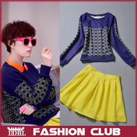 Женские блузки и Рубашки 2013 High Quality FC-MD09 Summer New Design Turn Down Collar Short Sleeve LIght Blue Fresh Cartoon Printed Shirt&Shorts 2pcs