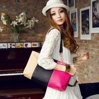 Autumn and winter classic women's handbag color block decoration woven bag vintage casual one shoulder big bag color block