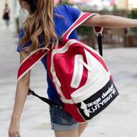 Women's canvas handbag fashion student school backpack bag color block patchwork backpack multi-purpose travel bag large