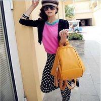 Women's handbag bag multi-purpose casual preppy style backpack leather color block messenger bag