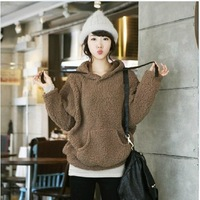 2013 winter outerwear female plus size batwing sleeve young girl casual sweatshirt female coat
