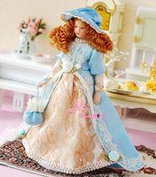 Dolls Toys For Girls Doll LACE light blue Victoria Lady Girl W/ Handbag 1:12 Dollhouse Miniature Furniture